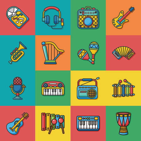 vinyl disk player: icon set music vector Illustration