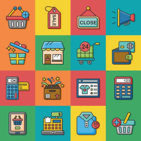 signatures: icon set shopping vector