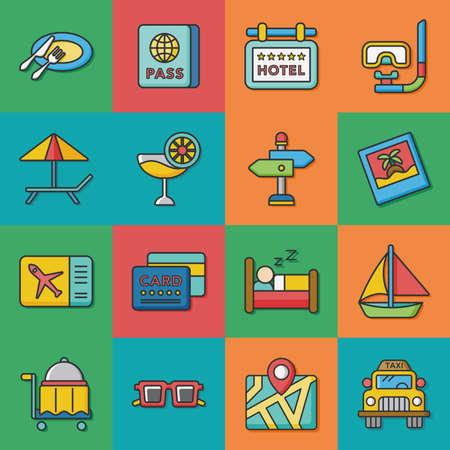 sunglasses recreation: icon set travel vector Illustration
