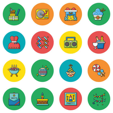 food and drinks: icon set party vector