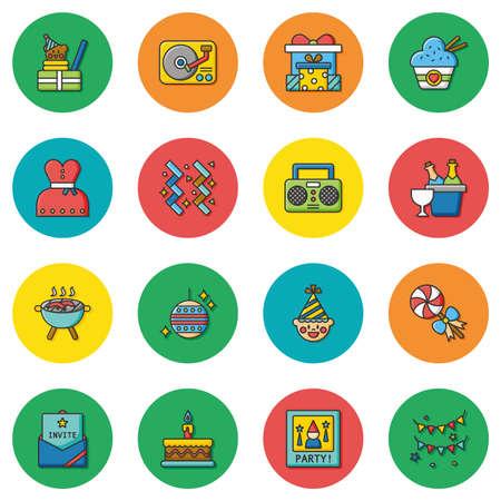 alimentos y bebidas: Parte icono conjunto de vectores