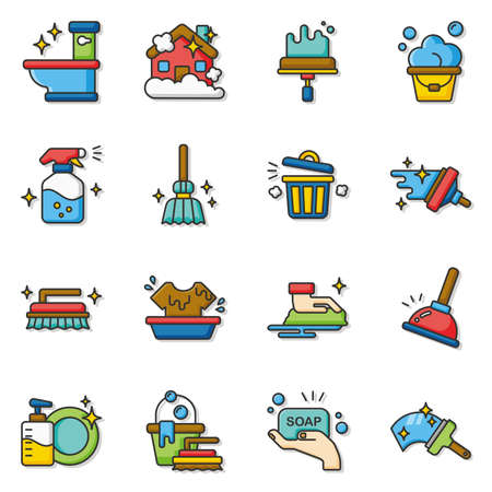 squeegee: icon set clean vector