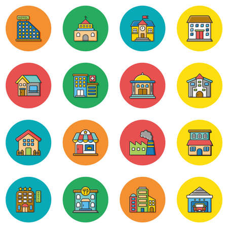 post office building: icon set building vector
