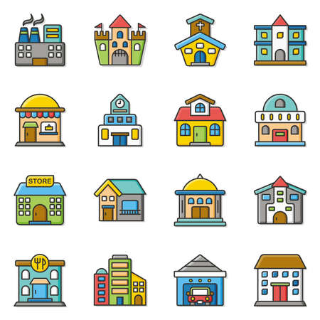 icon set building vector