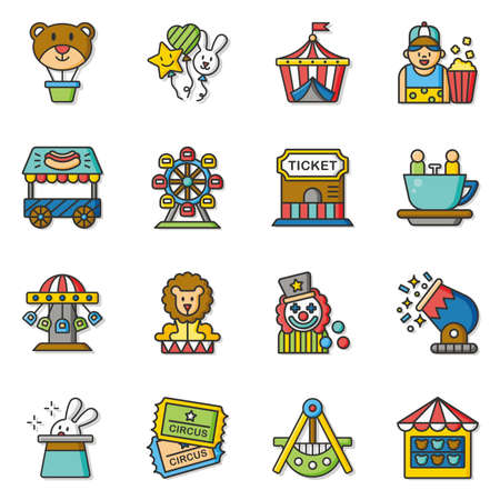 amusement: icon set amusement vector