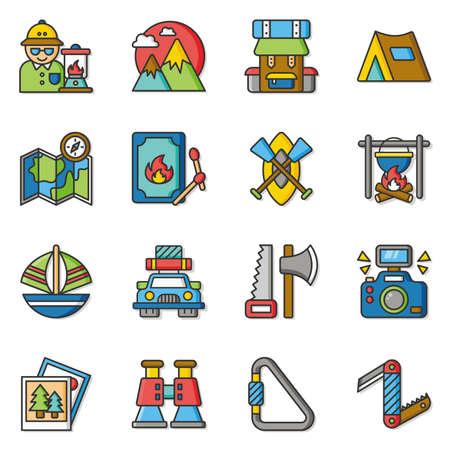 mochila de viaje: conjunto de iconos del vector de aventura