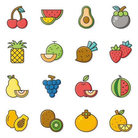 mango slice: icon set fruit vector