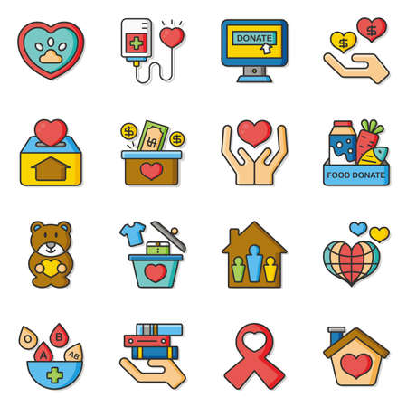 icon set donate vector Ilustracja