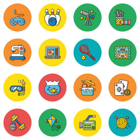 icon set hobby vector