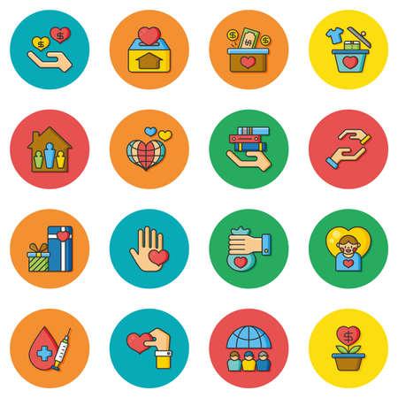sheltering: icon set donate vector Illustration