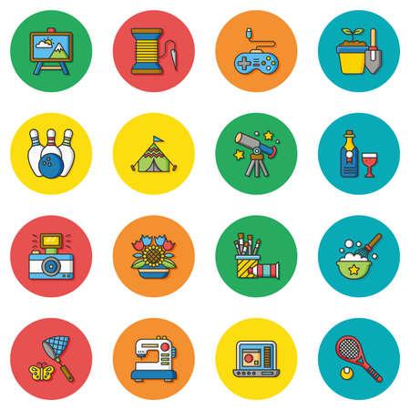 hobby: icon set hobby vector