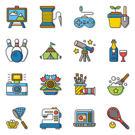 hobby: icon set hobby vector