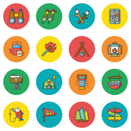 icon set: icon set camping vector