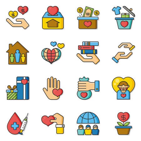fundraiser: icon set donate vector Illustration