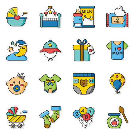 design drawing: icon set  baby vector