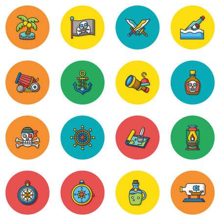 wheel barrel: icon set pirate vector