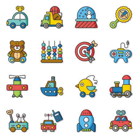 conjunto de iconos del vector del juguete Ilustración de vector