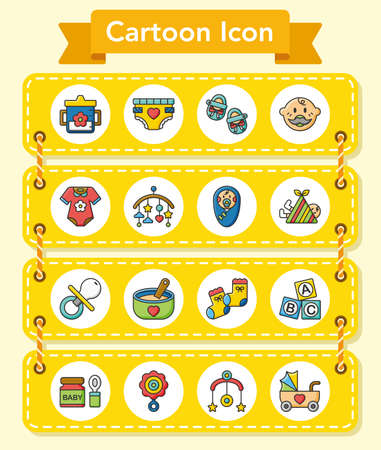 horse care: icon set baby vector