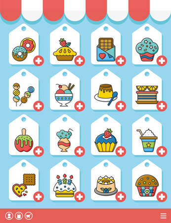 vanilla pudding: icon set dessert vector Illustration