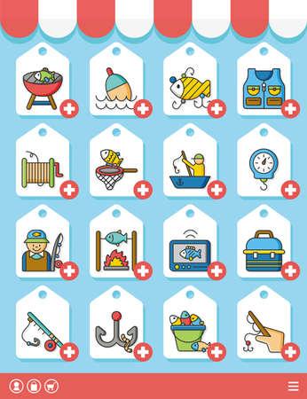sinker: icon set fishing vector Illustration