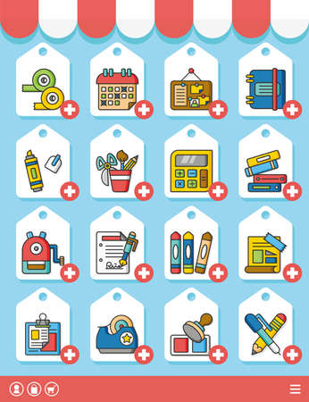 swatch book: icon set stationery vector