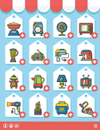 household goods: icon set appliances vector