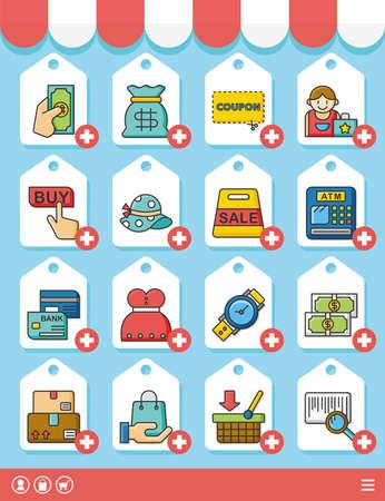 food market: icon set shopping vector