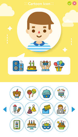 icon set birthday vector