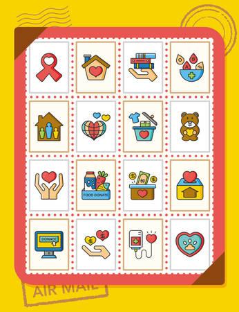 philanthropist: icon set donate vector Illustration