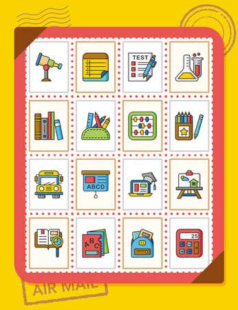 school icon: icon set school vector Illustration
