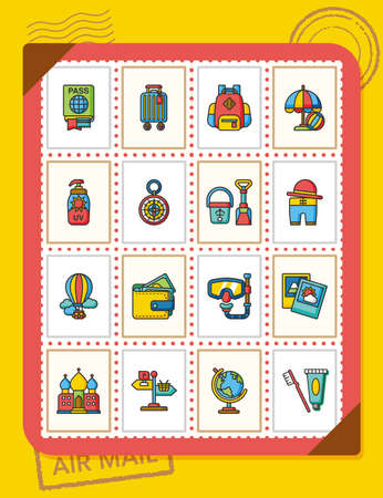 icon set travel vector Illustration