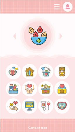 philanthropist: icon set donate vector Illustration