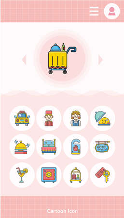 breakfast in bed: icon set hotel vector