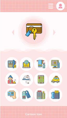 recreation rooms: icon set hotel vector