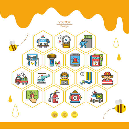 disaster preparedness: icon set emergency vector