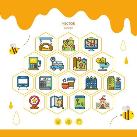 migrating: icon set location vector