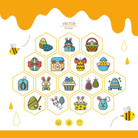 cake decorating: icon set easter vector