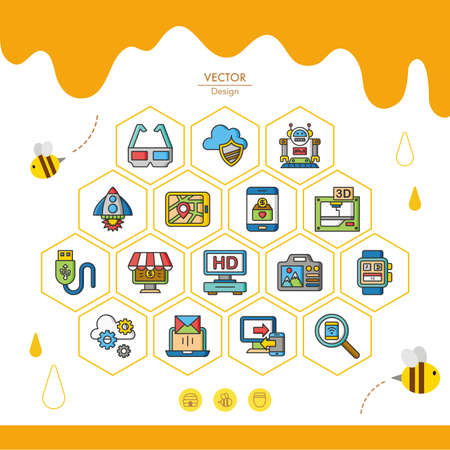 technology security: icon set technology vector