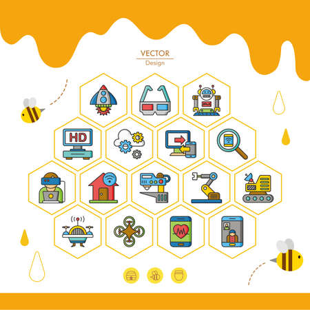 icon set technology vector