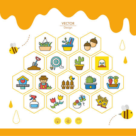 raking: icon set gradening vector Illustration
