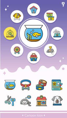turtles love: icon set pet vector