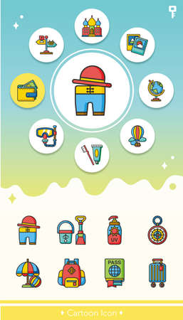excursions: icon set travel vector Illustration