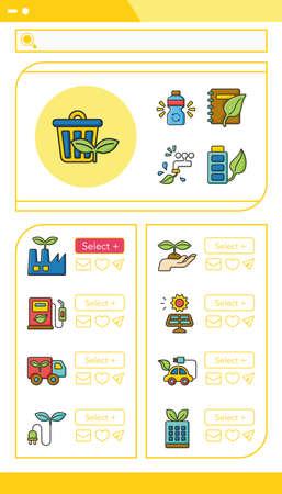 gas lamp: icon set ecology vector Illustration