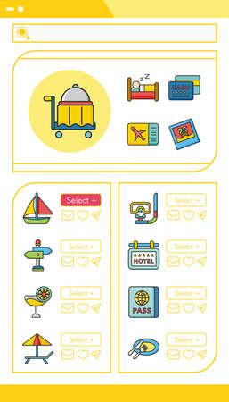 sleeping car: icon set travel vector Illustration