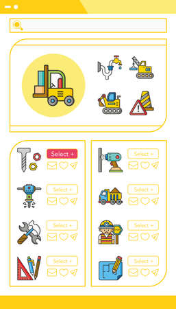 skid steer: icon set construction vector