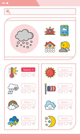 partly sunny: icon set weather vector