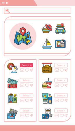 recreation rooms: icon set travel vector Illustration