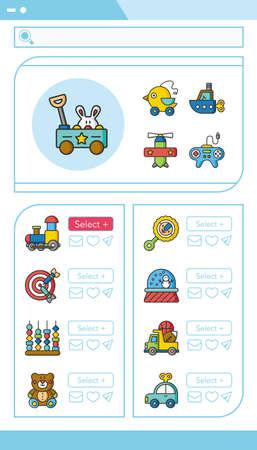 cartoon wood bucket: icon set toy vector Illustration