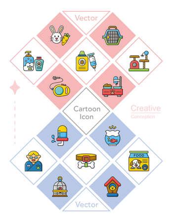 cat carrier: icon set pet vector