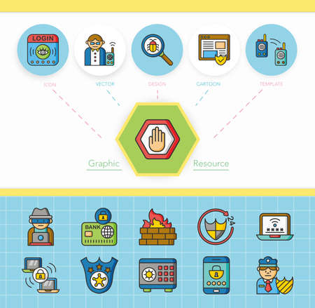 security icon: icon set security vector Illustration